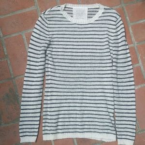 mohair blend striped loose weave crewneck sweater
